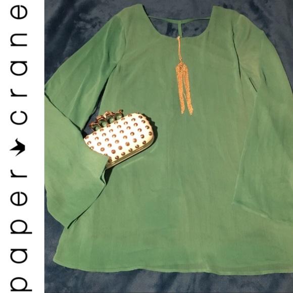 Paper Crane Dresses & Skirts - Paper Crane Green Long sleeve Mini Dress